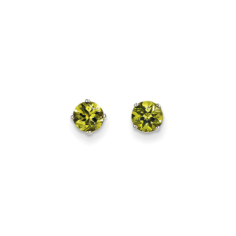 14kt White Gold 5mm Peridot Stud Earrings