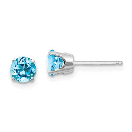 14kt White Gold 5mm Blue Topaz Stud Earrings