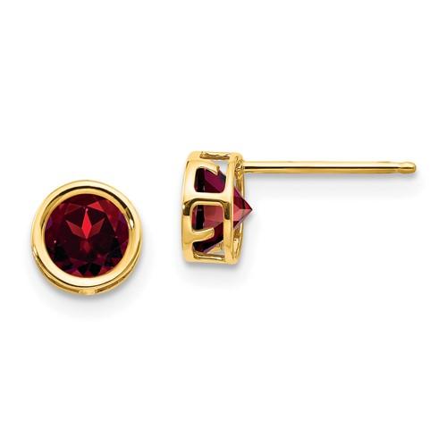 14kt Gold 5mm Garnet Bezel Earrings