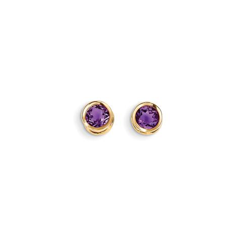 14kt Gold 5mm Amethyst Bezel Earrings