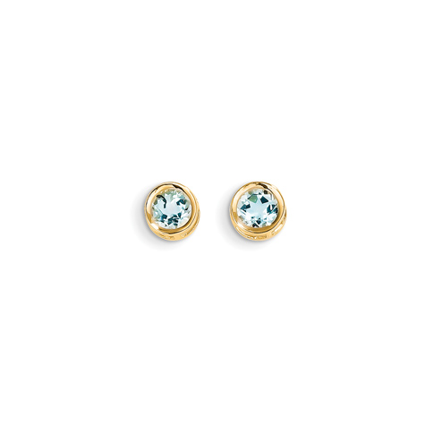 14kt Gold 5mm Aquamarine Bezel Earrings