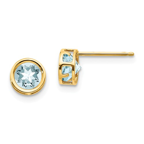 14k Yellow Gold 1 ct tw Aquamarine Bezel Stud Earrings