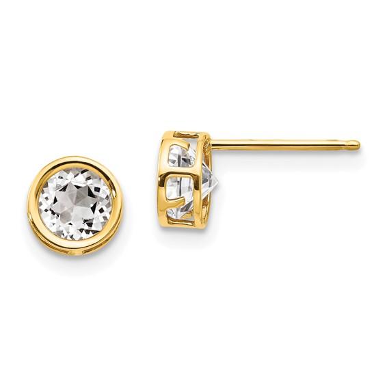 14kt Gold 5mm White Topaz Bezel Earrings