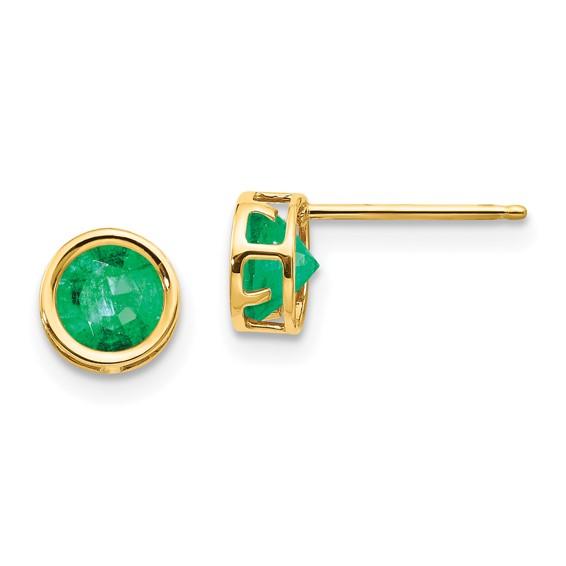 14kt Gold 5mm Emerald Bezel Earrings