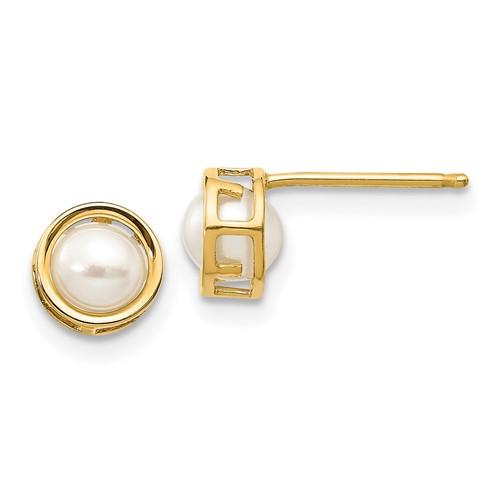 14kt Gold 5mm Cultured Pearl Bezel Earrings