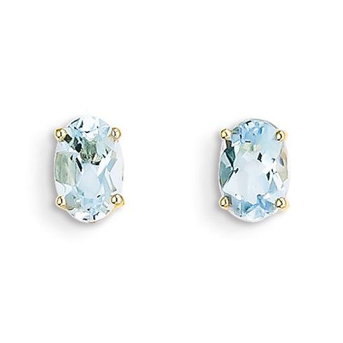 14kt Yellow Gold 7/8 ct Oval Aquamarine Stud Earrings