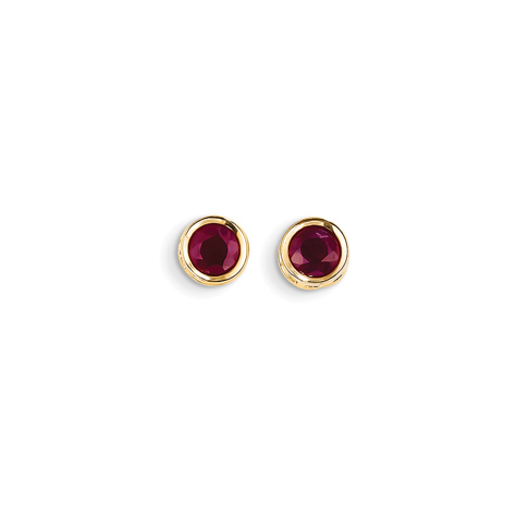 14kt Yellow Gold 5mm Ruby Bezel Earrings