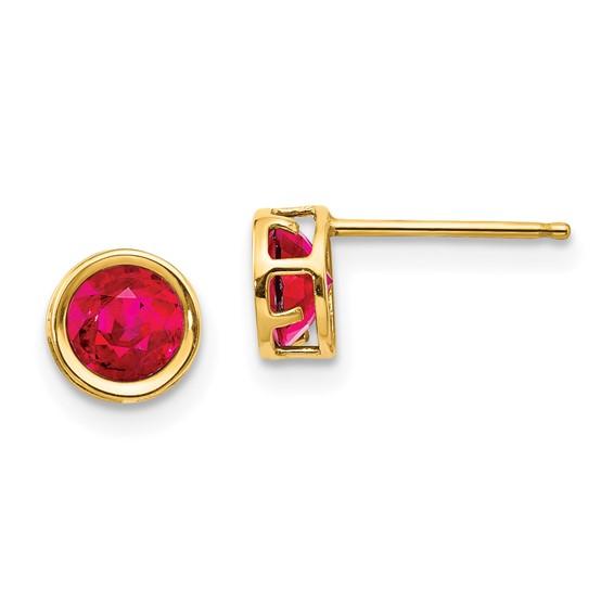 14kt Yellow Gold 5mm Ruby Bezel Earrings