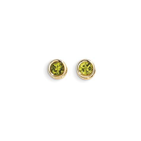 14kt Gold 5mm Peridot Bezel Earrings