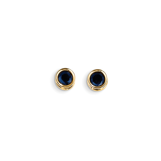 14kt Gold 5mm Sapphire Bezel Earrings