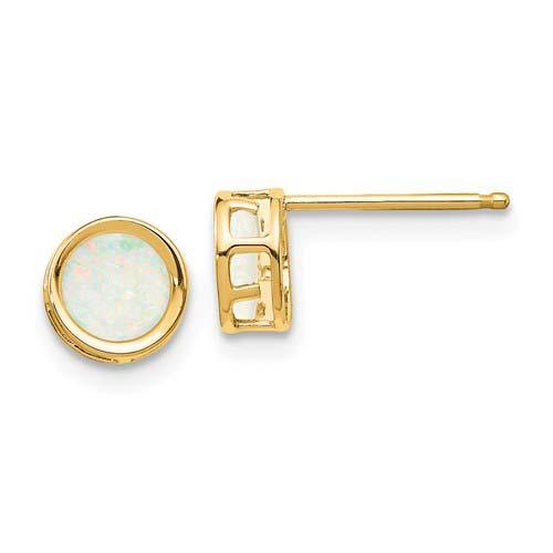 14kt Gold 5mm Opal Bezel Earrings