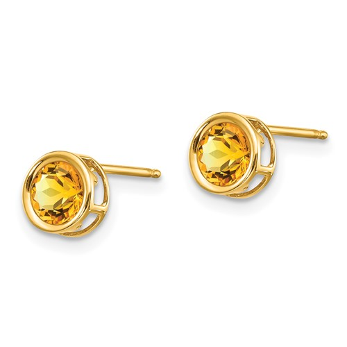 14kt Gold 5mm Citrine Bezel Earrings