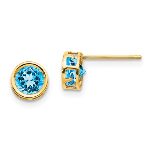 14kt Gold 5mm Blue Topaz Bezel Earrings