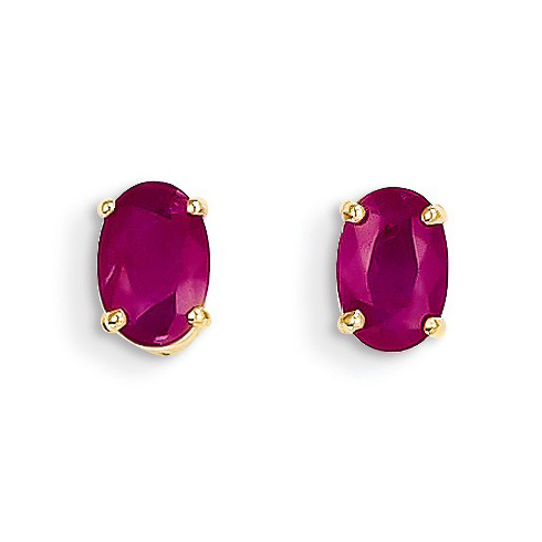 14kt Yellow Gold 1.2 ct Oval Ruby Stud Earrings