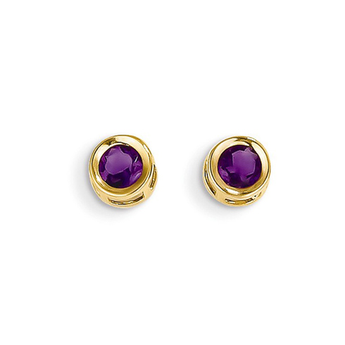 14kt Gold 4mm Amethyst Bezel Earrings