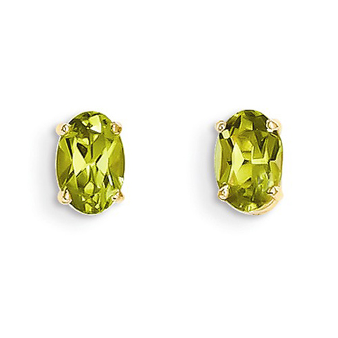 14kt Yellow Gold 1 ct Oval Peridot Stud Earrings