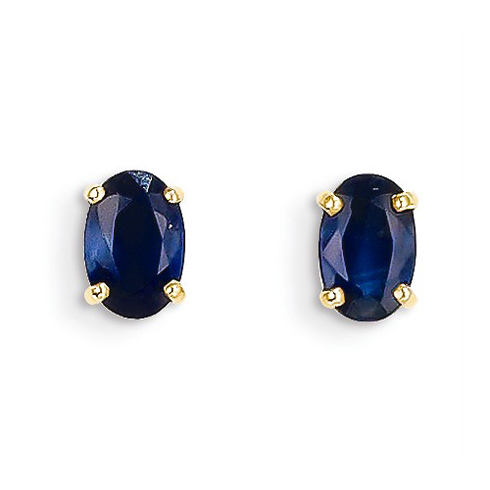 14kt Yellow Gold 2/3 ct Oval Sapphire Stud Earrings