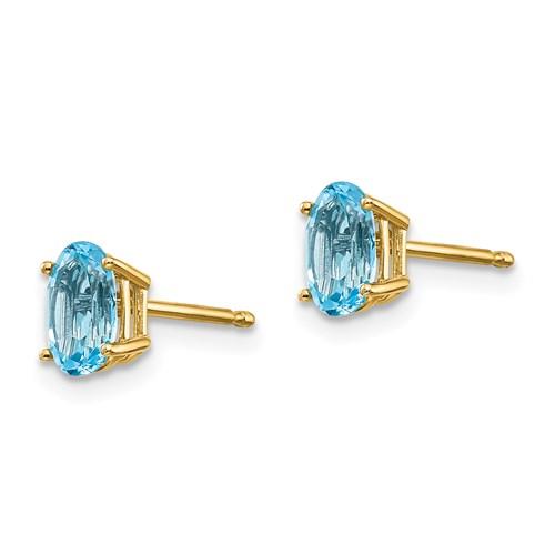14k Yellow Gold 1 ct tw Oval Blue Topaz Earrings