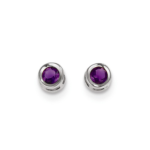 14kt White Gold 4mm Amethyst Bezel Earrings