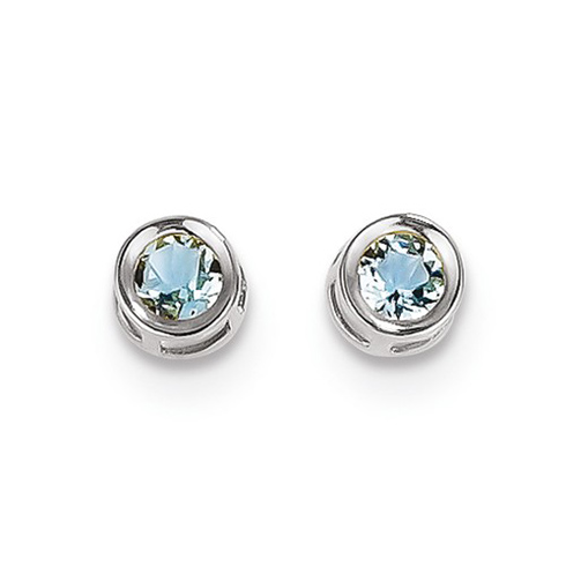 14kt White Gold 1/2 ct Aquamarine Stud Bezel Earrings