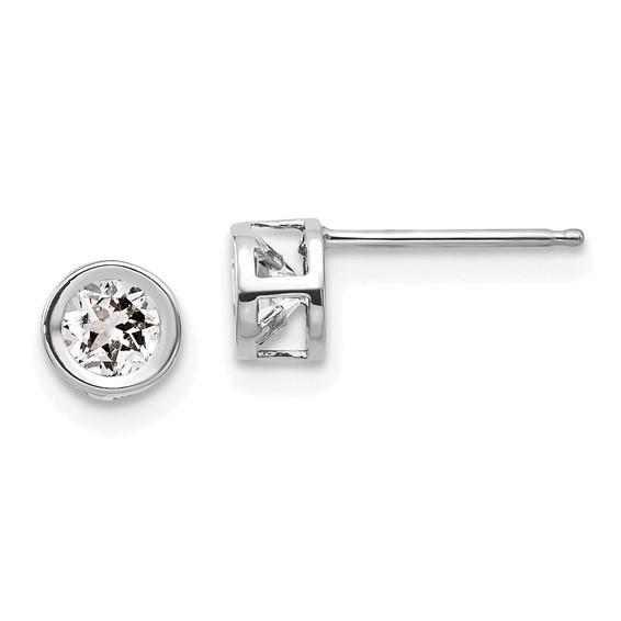 14kt White Gold 4mm White Zircon Bezel Earrings