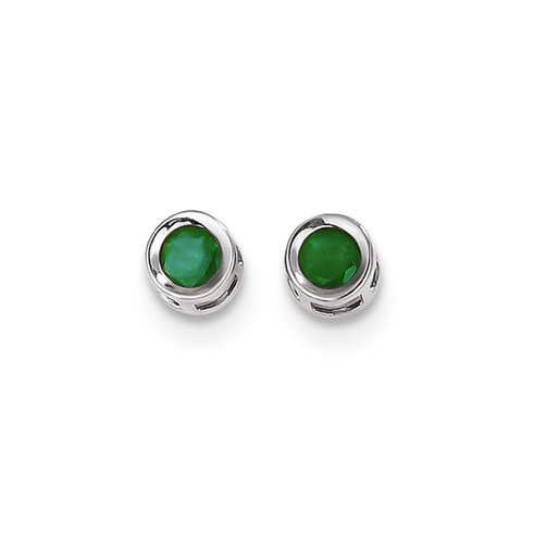 14kt White Gold 4mm Emerald Bezel Earrings