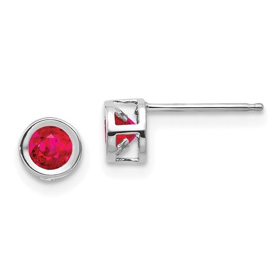 14kt White Gold 4mm Ruby Bezel Earrings
