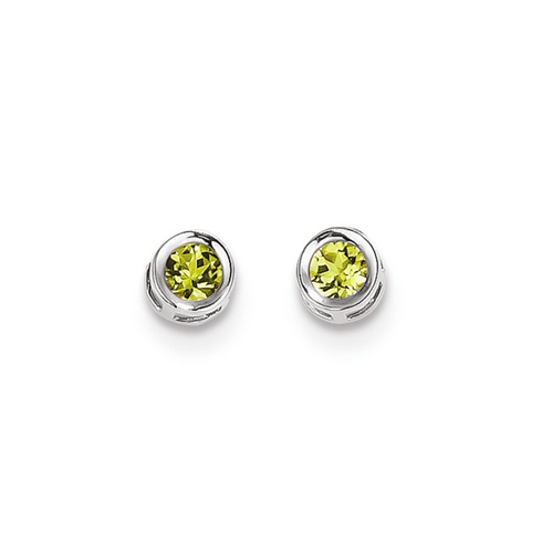 14kt White Gold 4mm Peridot Bezel Earrings
