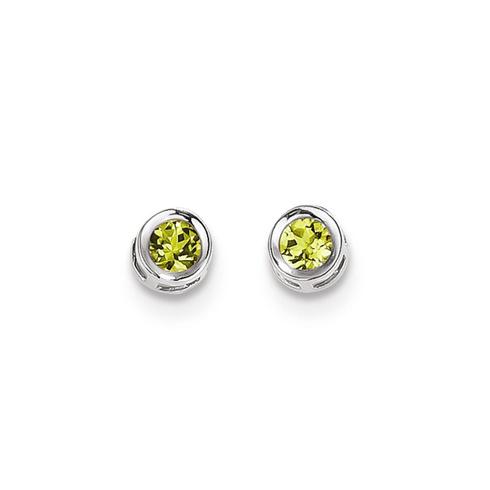 14kt White Gold 4mm Peridot Bezel Earrings