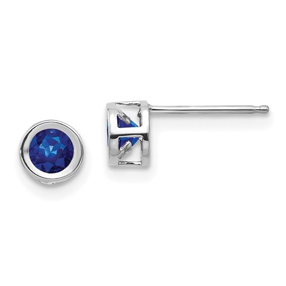14kt White Gold 4mm Sapphire Bezel Earrings
