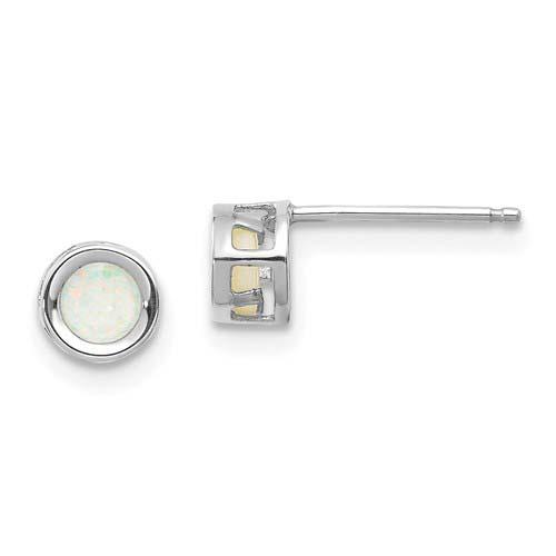 14kt White Gold 4mm Opal Bezel Earrings