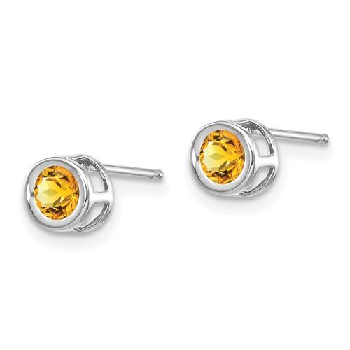 14kt White Gold 4mm Citrine Bezel Earrings