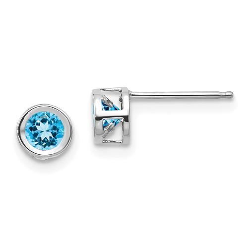 14kt White Gold 4mm Blue Topaz Bezel Earrings