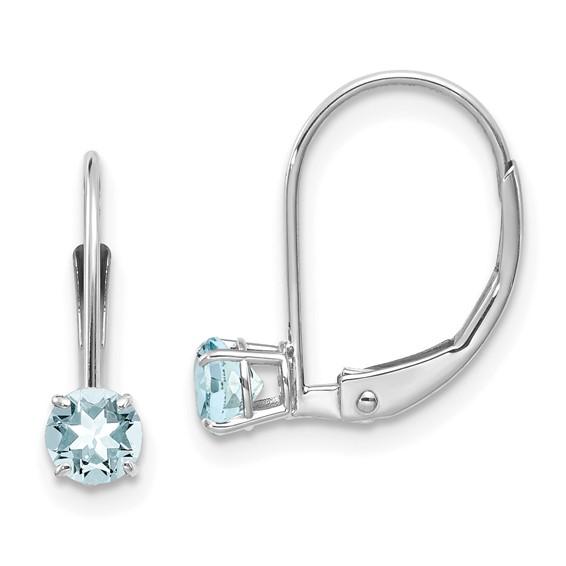 14kt White Gold 1/2 ct Aquamarine Leverback Earrings