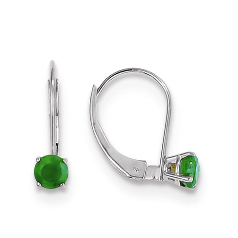 14kt White Gold 4mm Emerald Leverback Earrings