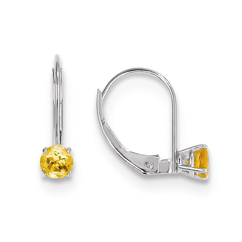 14kt White Gold 4mm Citrine Leverback Earrings