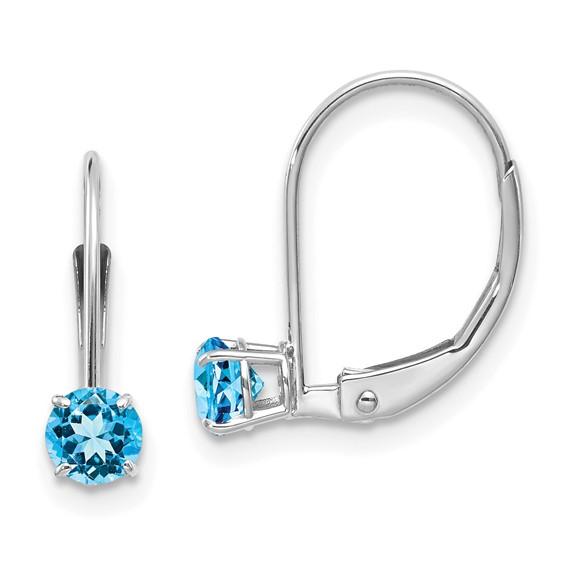 14kt White Gold 4mm Blue Topaz Leverback Earrings