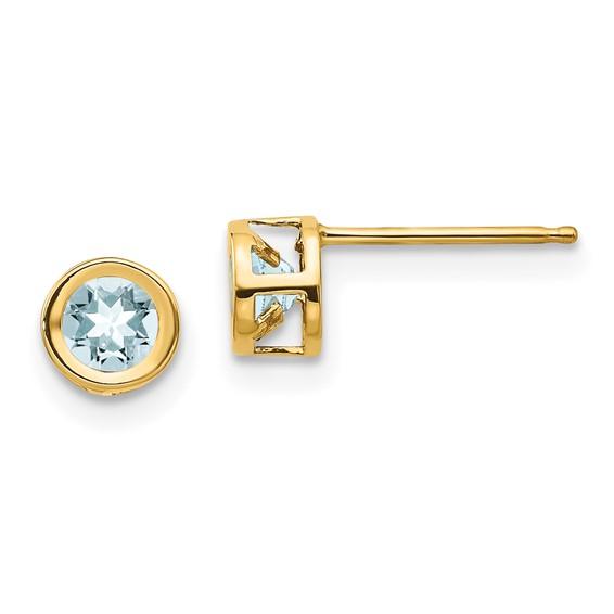 14kt Yellow Gold 1/2 ct Aquamarine Stud Bezel Earrings