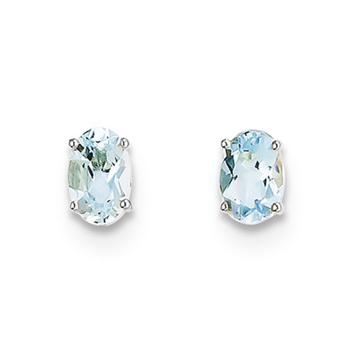 14kt White Gold 7/8 ct Oval Aquamarine Stud Earrings