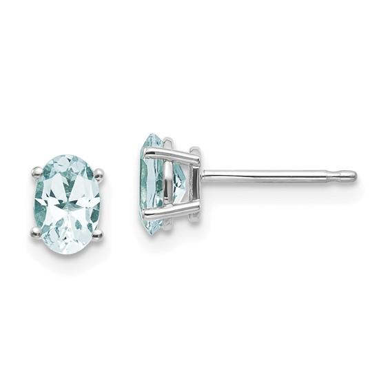 14kt White Gold 7/8 ct Oval Aquamarine Stud Earrings