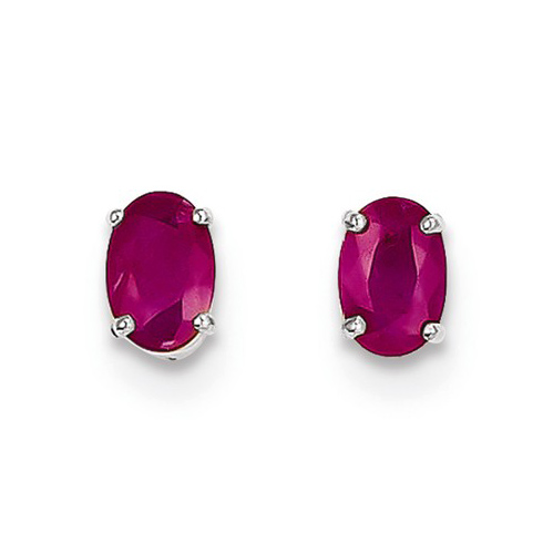 14kt White Gold 1.2 ct Oval Ruby Stud Earrings