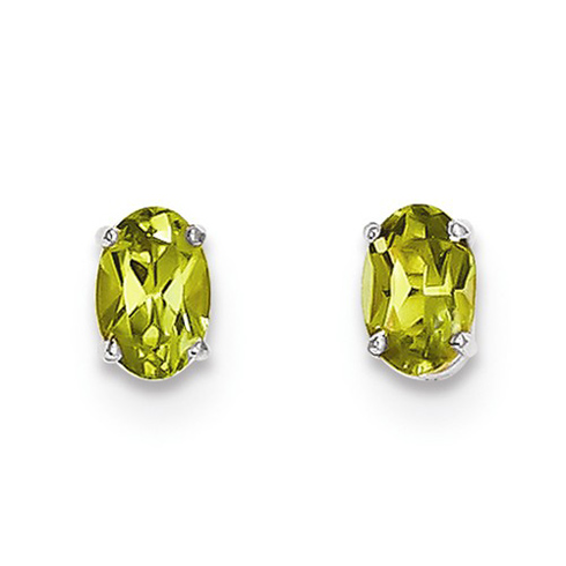 14kt White Gold 1 ct Oval Peridot Stud Earrings