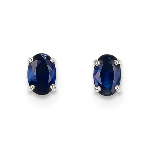 14kt White Gold 2/3 ct Oval Sapphire Stud Earrings