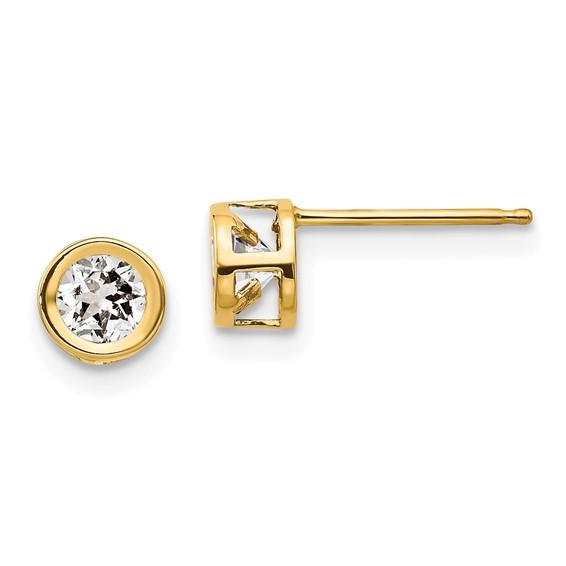 14kt Gold 4mm White Zircon Bezel Earrings