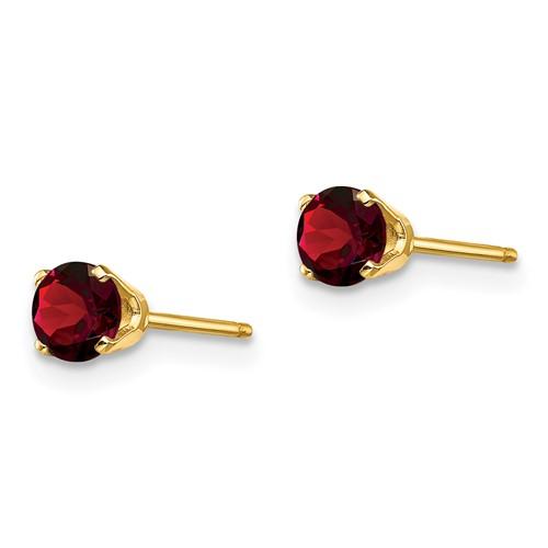 14kt Yellow Gold 2/3 ct Garnet Stud Earrings