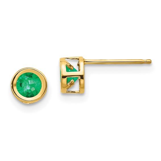 14kt Gold 4mm Emerald Bezel Earrings