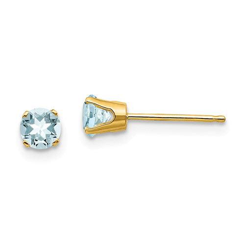 14kt Gold 4mm Aquamarine Stud Earrings