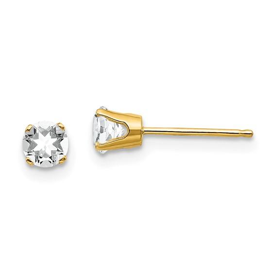 14kt Gold 4mm White Topaz Stud Earrings