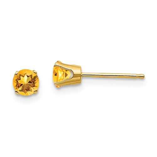 14kt Gold 4mm Citrine Stud Earrings
