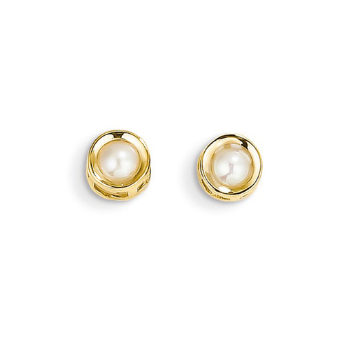 14kt Gold 4mm Cultured Pearl Bezel Earrings